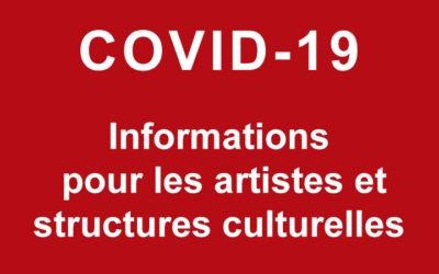 Informations pour les artistes, intermittents, auteurs, TPE, PME et structures culturelles – COVID-19